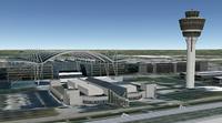 Immagine ricostruita dell'aeroporto di Monaco tratta da Google Earth: è evidente la semplificazione fatta nel modello sulle forme degli edifici.