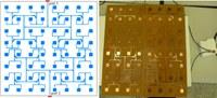 Layout e prototipo di un array focalizzato in campo vicino, composto da 8x8 patch quadrati alimentati a microstriscia e operante a 2.4GHz